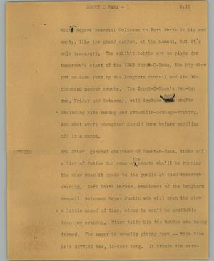 Primary view of object titled '[News Script: Scout O Rama]'.