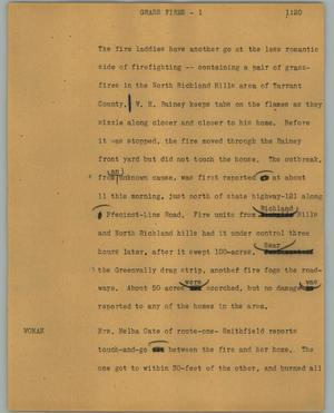 Primary view of object titled '[News Script: Grass fires]'.