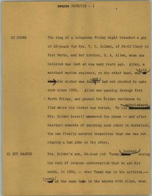 Primary view of object titled '[News Script: Reunited]'.