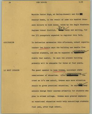 Primary view of object titled '[News Script: New school]'.