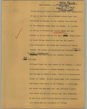 Primary view of object titled '[News Script: Bank robbers]'.