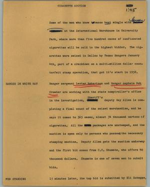 Primary view of object titled '[News Script: Cigarette auction]'.