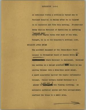 Primary view of object titled '[News Script: Explosion]'.