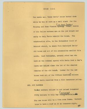 Primary view of object titled '[News Script: House]'.