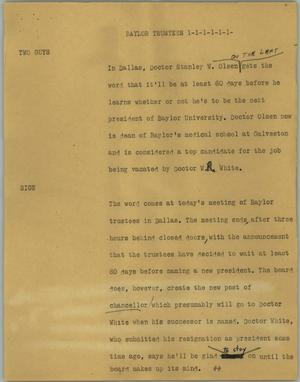 Primary view of object titled '[News Script: Baylor trustees]'.