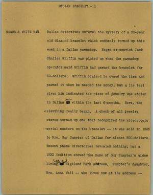 Primary view of object titled '[News Script: Stolen bracelet]'.