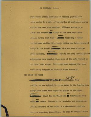 Primary view of object titled '[News Script: TV burglars]'.