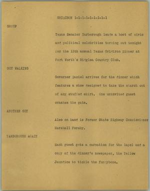 Primary view of object titled '[News Script: Gridiron]'.