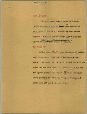 Primary view of object titled '[News Script: Postal awards]'.
