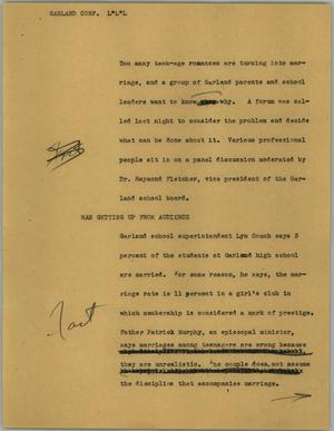 Primary view of object titled '[News Script: Garland conf.]'.