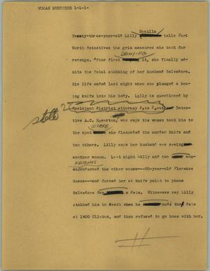 Primary view of object titled '[News Script: Woman murderer]'.