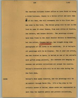 Primary view of object titled '[News Script: Art]'.