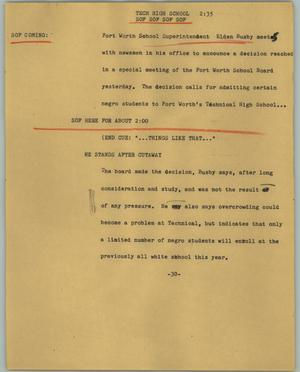 Primary view of object titled '[News Script: Tech high school]'.
