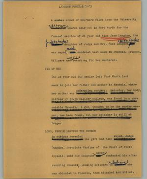 Primary view of object titled '[News Script: Langdon Funeral]'.