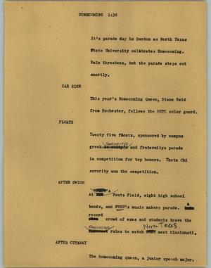 Primary view of object titled '[News Script: Homecoming]'.
