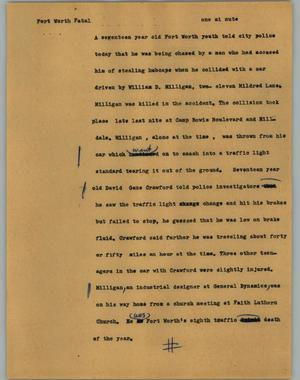 Primary view of object titled '[News Script: Fort Worth fatal]'.