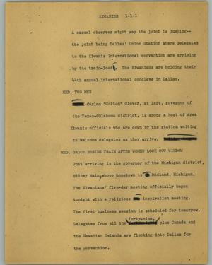 Primary view of object titled '[News Script: Kiwanies]'.