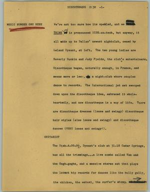 Primary view of object titled '[News Script: Discotheque]'.