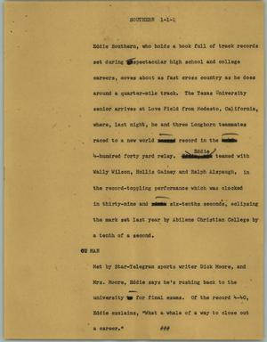 Primary view of object titled '[News Script: Southern]'.