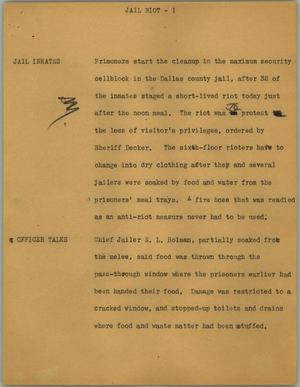 Primary view of object titled '[News Script: Jail riot]'.