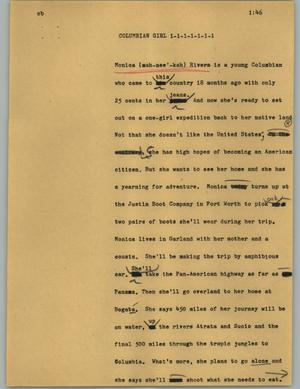 Primary view of object titled '[News Script: Columbian girl]'.
