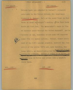 Primary view of object titled '[News Script: Irish ambassador]'.