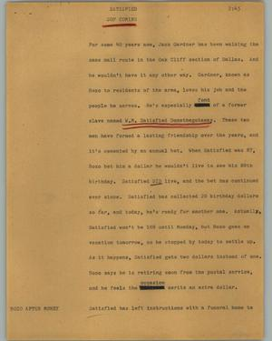 Primary view of object titled '[News Script: Satisfied ]'.