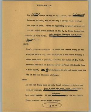 Primary view of object titled '[News Script: Strong man]'.