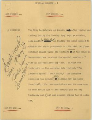 Primary view of object titled '[News Script: Special session]'.