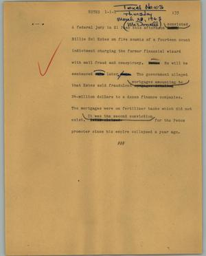 Primary view of object titled '[News Script: Estes]'.