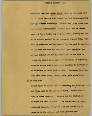 Primary view of object titled '[News Script: Science student]'.