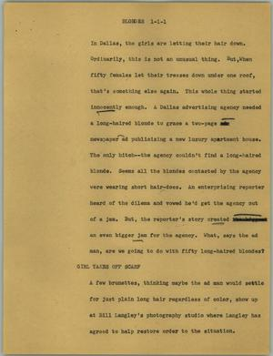 Primary view of object titled '[News Script: Blondes]'.