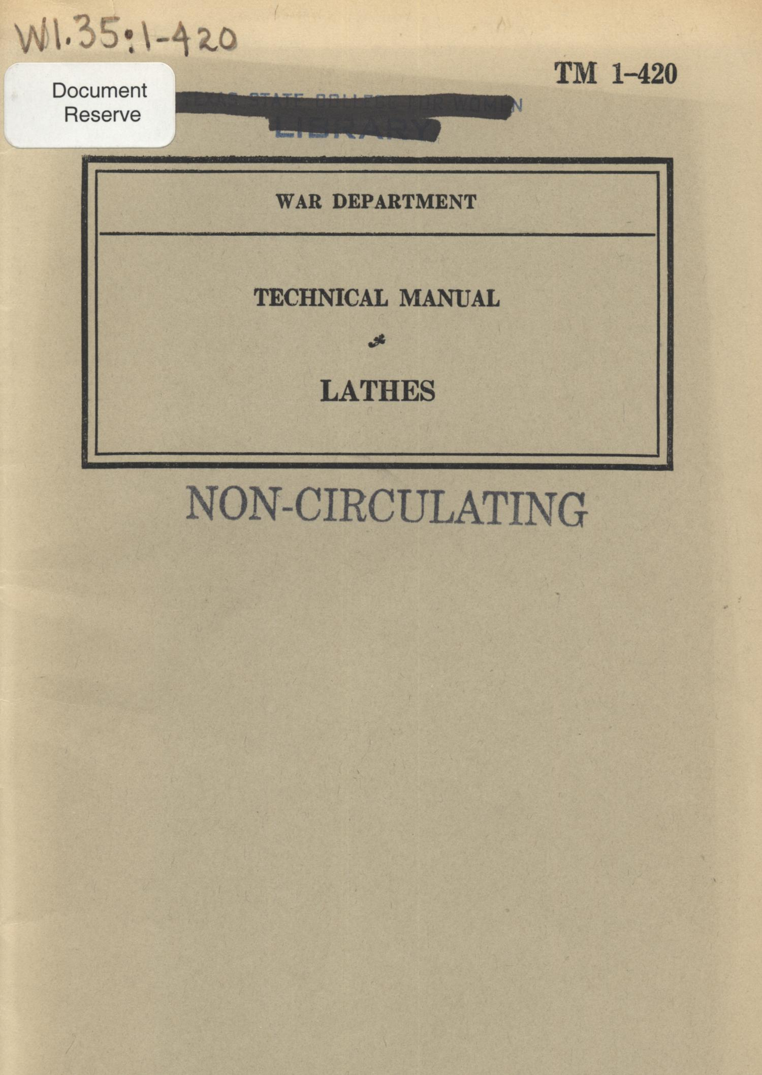 Lathes                                                                                                      Front Cover