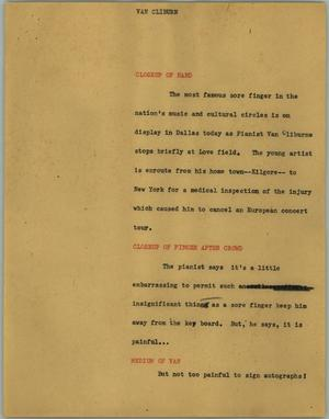 Primary view of object titled '[News Script: Van Cliburn]'.