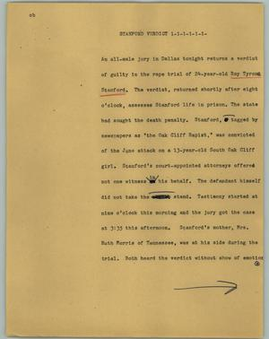 Primary view of object titled '[News Script: Stanford verdict]'.