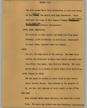 Primary view of object titled '[News Script: Queens]'.