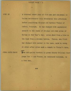 Primary view of object titled '[News Script: Tinley trial]'.