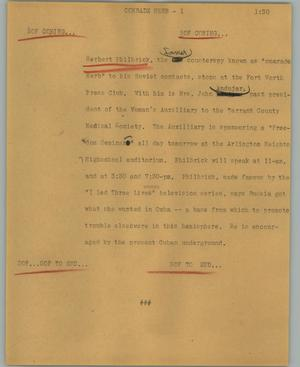 Primary view of object titled '[News Script: Comrade herb]'.