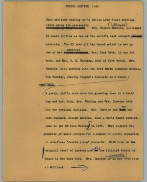 Primary view of object titled '[News Script: Rosina Lhevine]'.