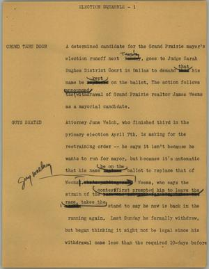 Primary view of object titled '[News Script: Election squabble]'.