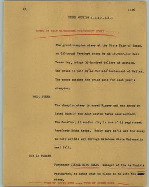 Primary view of object titled '[News Script: Steer auction]'.