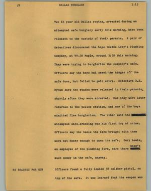 Primary view of object titled '[News Script: Dallas burglary]'.