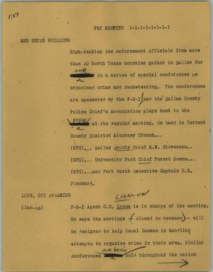 Primary view of object titled '[News Script: FBI meeting]'.