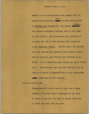 Primary view of object titled '[News Script: Brother Bill's]'.