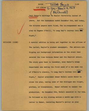 Primary view of object titled '[News Script: Baker]'.