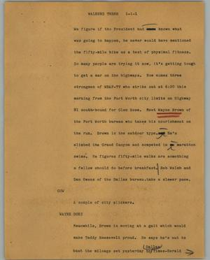 Primary view of object titled '[News Script: Walkers three]'.