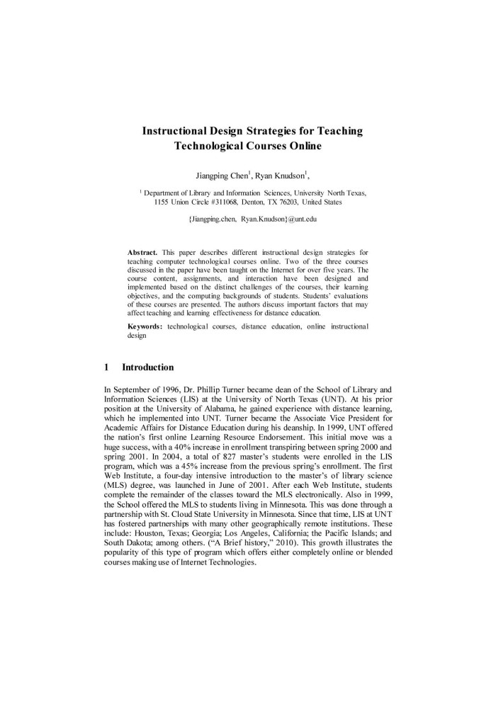 Instructional Design Strategies For Teaching Technological Courses