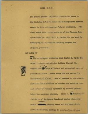 Primary view of object titled '[News Script: Vogel]'.