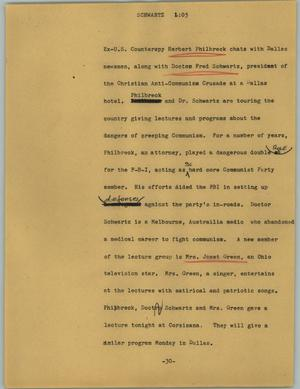Primary view of object titled '[News Script: Schwartz]'.