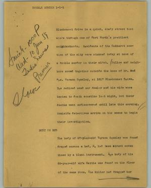 Primary view of object titled '[News Script: Double murder]'.